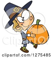 Cartoon Clipart Of A Happy Caucasian Pilgrim Boy Carrying A Big Pumpkin Royalty Free Vector Illustration by toonaday