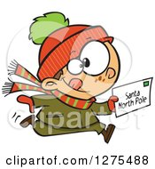 Cartoon Clipart Of A Happy Caucasian Boy Running With A Christmas Santa Letter Royalty Free Vector Illustration