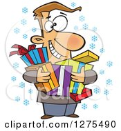 Cartoon Clipart Of A Happy Festive Caucasian Man Holding Christmas Gifts Royalty Free Vector Illustration by toonaday