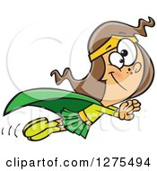 Cartoon Clipart Of A Happy Caucasian Super Girl Holding Her Arms Out And Flying Royalty Free Vector Illustration by toonaday