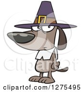 Cartoon Clipart Of A Thanksgiving Pilgrim Dog Royalty Free Vector Illustration