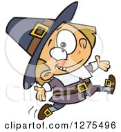 Cartoon Clipart Of A Happy Caucasian Pilgrim Boy Leaping And Jumping Royalty Free Vector Illustration