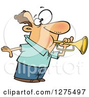Cartoon Clipart Of A Caucasian Man Tooting A Horn Royalty Free Vector Illustration