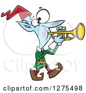 Cartoon Clipart Of A Happy Christmas Elf Marching And Playing The Trumpet Royalty Free Vector Illustration by toonaday