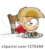 Cartoon Clipart Of A Happy Caucasian Boy Smiling Down At His Turkey Dinner Royalty Free Vector Illustration