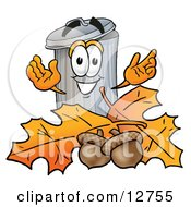 Clipart Picture Of A Garbage Can Mascot Cartoon Character With Autumn Leaves And Acorns In The Fall