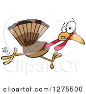 Cartoon Clipart Of A Scared Thanksgiving Turkey Bird Running Royalty Free Vector Illustration by toonaday