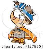 Cartoon Clipart Of A Caucasian Boy Pretending To Be A Super Hero With Underwear On His Head Royalty Free Vector Illustration by toonaday