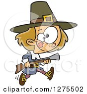 Cartoon Clipart Of A Caucasian Pilgrim Boy Hunting With A Blunderbus Royalty Free Vector Illustration