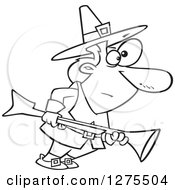 Cartoon Clipart Of A Black And White Thanksgiving Pilgrim Man Turkey Hunting With A Blunderbuss Royalty Free Vector Line Art Illustration by toonaday