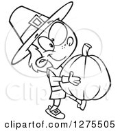Cartoon Clipart Of A Black And White Happy Pilgrim Boy Carrying A Big Pumpkin Royalty Free Vector Line Art Illustration by toonaday