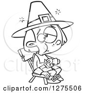 Cartoon Clipart Of A Black And White Stuffed Pilgrim Boy Sitting And Rubbing His Tummy Royalty Free Vector Line Art Illustration by toonaday