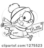 Cartoon Clipart Of A Black And White Happy Boy Running With A Christmas Santa Letter Royalty Free Vector Line Art Illustration by toonaday