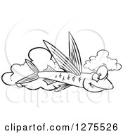 Cartoon Clipart Of A Black And White Happy Flying Fish Over Clouds Royalty Free Vector Line Art Illustration by toonaday