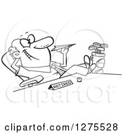 Cartoon Clipart Of A Black And White Happy Retired Businessman With Golf Clubs At His Side Throwing A Paper Plane At His Desk Royalty Free Vector Line Art Illustration by toonaday