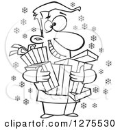 Cartoon Clipart Of A Black And White Happy Festive Man Holding Christmas Gifts Royalty Free Vector Line Art Illustration by toonaday