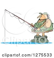 Clipart Of A Hairy Fishing Caveman With Gear Royalty Free Vector Illustration