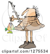 Clipart Of A Hairy Caveman With A Fishing Pole And His Monster Catch Royalty Free Illustration