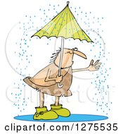 Clipart Of A Hairy Caveman Reaching Out Into The Rain From Under An Umbrella Royalty Free Vector Illustration