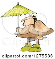 Clipart Of A Hairy Caveman Holding A Club And Standing Under An Umbrella Royalty Free Vector Illustration