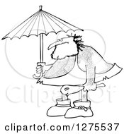 Black And White Hairy Caveman Holding A Club And Standing Under An Umbrella