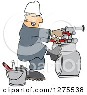 Clipart Of A Caucasian Gas Meter Man Struggling With A Double Wrench Royalty Free Vector Illustration