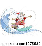 Clipart Of Santa Clause Surfing And Riding A Wave With Christmas Gifts On Board Royalty Free Vector Illustration