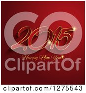 Clipart Of A 2015 Happy New Year Greeting On Red With Gold Sparkles Royalty Free Vector Illustration