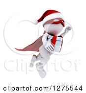 Clipart Of A 3d White Super Hero Santa Man Flying With A Christmas Gift Royalty Free Illustration
