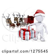 Clipart Of A 3d White Man Santa With Gifts Reindeer And A Sleigh Royalty Free Illustration