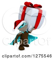 Clipart Of A 3d Brown Super Hero Santa Man Holding Up A Giant Christmas Gift Royalty Free Illustration