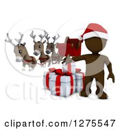 3d Brown Man Santa With Gifts Reindeer And A Sleigh