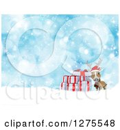 Clipart Of A 3d Christmas Reindeer With Gifts In The Snow Over Blue Bokeh Royalty Free Illustration