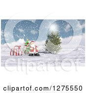 3d Christmas Reindeer And Santa With Gifts And A Tree In The Snow
