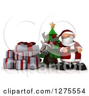 3d Christmas Reindeer And Santa With Gifts And A Tree Over White