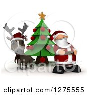 3d Christmas Reindeer And Santa By A Tree On White