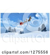 Clipart Of 3d Christmas Magic Reindeer Flying Santa In A Sleigh Over A Snowy Landscape Royalty Free Illustration