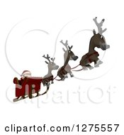 Clipart Of 3d Christmas Reindeer Flying Santa In A Sleigh Over White Royalty Free Illustration