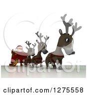3d Christmas Reindeer Walking Santa In A Sleigh Over White
