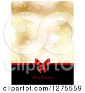 Clipart Of A Merry Christmas Greeting Under A Red Gift Bow On Black With Gold Snowflakes And Flares Royalty Free Vector Illustration