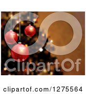 Clipart Of A Background Of 3d Red Christmas Baubles Suspended Over Blurred Christmas Tree Royalty Free Vector Illustration