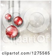 Christmas Background Of 3d Suspended Red Ornaments Over Snowflakes And Bokeh