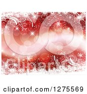 Clipart Of A Red Christmas Background Of Bokeh Flares Bordered With White Snowflakes And Vines Royalty Free Vector Illustration