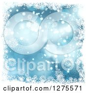 Clipart Of A Blue Christmas Background Of Bokeh With White Snowflakes And A Border Royalty Free Vector Illustration
