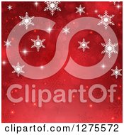 Clipart Of A Red Christmas Background Of Bokeh With White Snowflakes Arching The Top Royalty Free Vector Illustration
