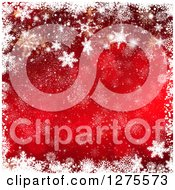 Clipart Of A Red Gold And White Christmas Background With A Border Of Snowflakes Royalty Free Illustration