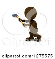 Clipart Of A 3d Brown Worker Man Using An Axe On A White Background Royalty Free Illustration