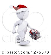 Clipart Of A 3d White Man Christmas Shopping And Carrying A Basket Of Gifts Royalty Free Illustration