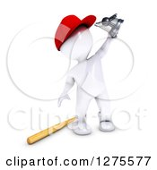 Clipart Of A 3d White Man Baseball Player Holding Up A Trophy Royalty Free Illustration by KJ Pargeter