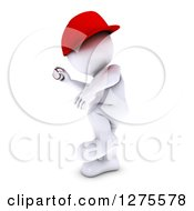 3d White Man Baseball Player Pitching
